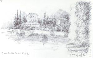 Lake Como pen & ink